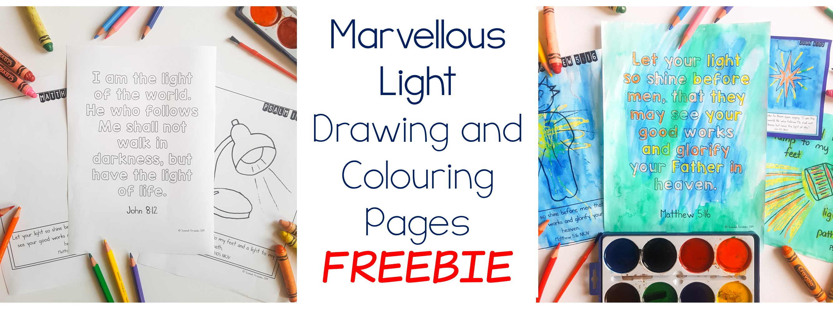 Free God's Light Scriptures – Drawing and colouring pages.
