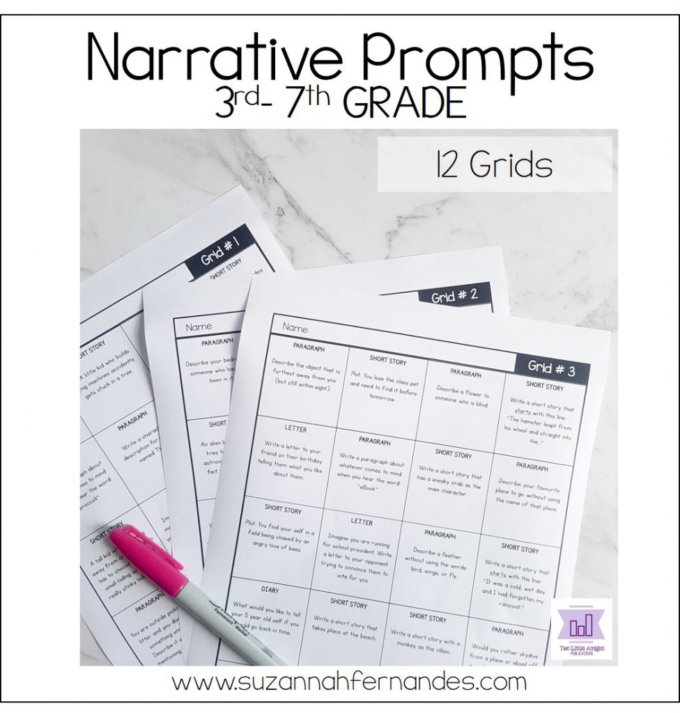 narrative-writing-prompts-includes-12-grids. www,suzannahfernandes.com